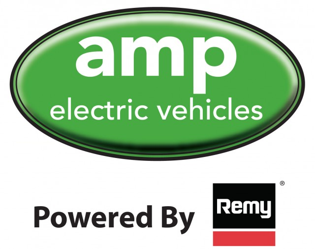 logos for AMP Electric Vehicles and Remy, used on Amp'd Equinox electric conversion