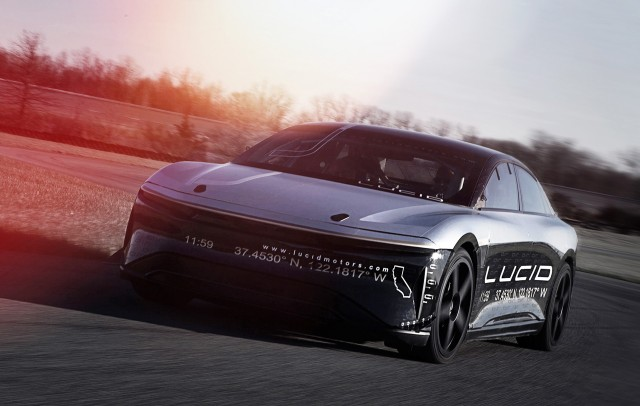 Lucid Air prototype during high-speed test at Transportation Research Center, Ohio