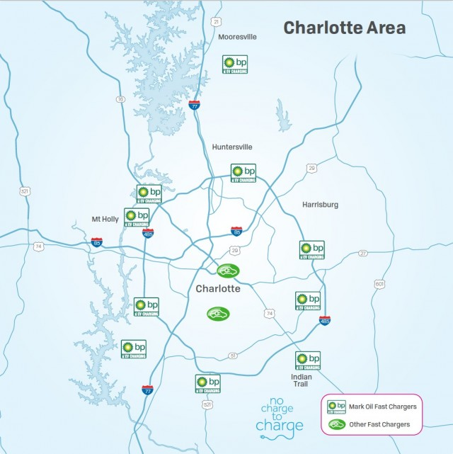 Map of electric-car fast-charging stations in and around Charlotte, North Carolina