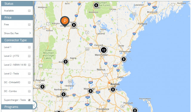 Map: Tesla Supercharger electric-car fast-charging sites between Boston and Woodstock, VT, Aug 2017