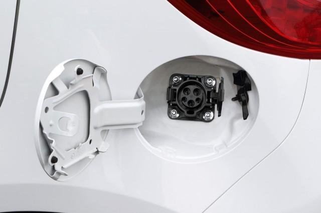 Mazda Demio EV test-fleet electric car in Japan (aka Mazda2) - charging port