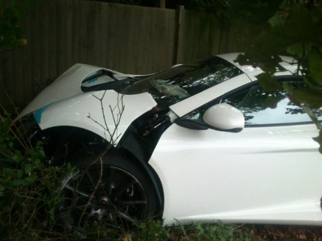 McLaren MP4-12C crashes near McLaren headquarters in Woking, UK