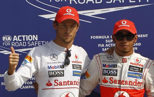 McLaren's Jenson Button and Lewis Hamilton at the 2012 Formula 1 Italian Grand Prix
