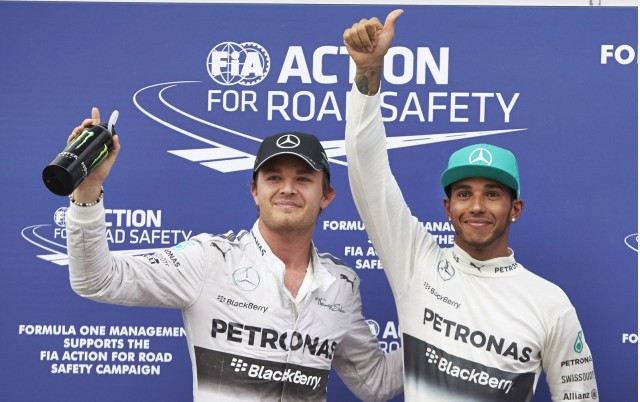 Mercedes AMG drivers Nico Rosberg and Lewis Hamilton