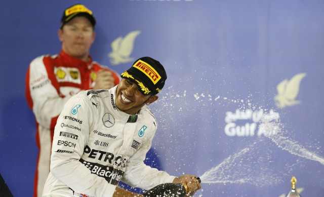 Mercedes AMG's Lewis Hamilton after winning the 2015 Formula One Bahrain Grand Prix