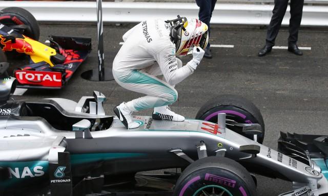 Mercedes AMG's Lewis Hamilton after winning the 2016 Formula One Monaco Grand Prix