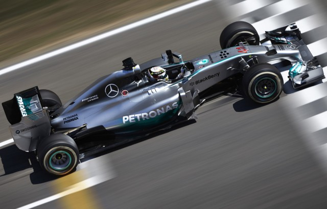 Mercedes AMG's Lewis Hamilton at the 2014 Formula One Spanish Grand Prix