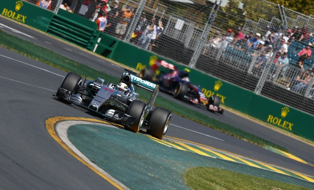 Mercedes AMG's Lewis Hamilton at the 2015 Formula One Australian Grand Prix
