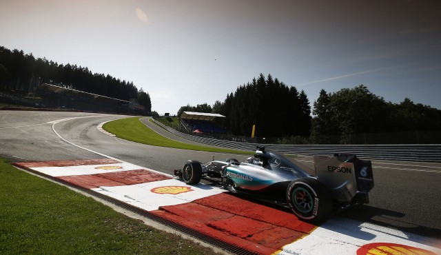 Mercedes AMG's Lewis Hamilton at the 2015 Formula One Belgian Grand Prix
