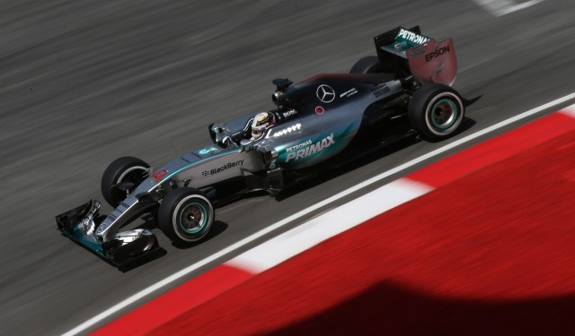 Mercedes AMG's Lewis Hamilton at the 2015 Formula One Malaysian Grand Prix