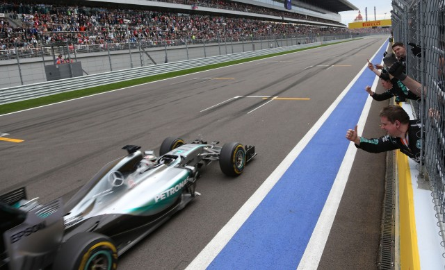 Mercedes AMG's Lewis Hamilton at the 2015 Formula One Russian Grand Prix