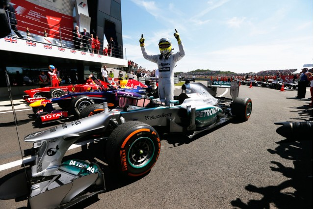 Mercedes AMG's Nico Rosberg after winning the 2013 Formula One British Grand Prix