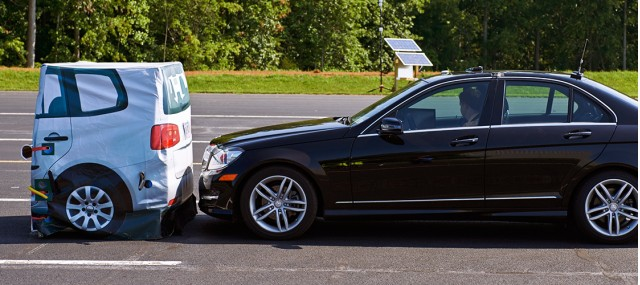 Mercedes-Benz C-Class in IIHS frontal crash prevention system test.