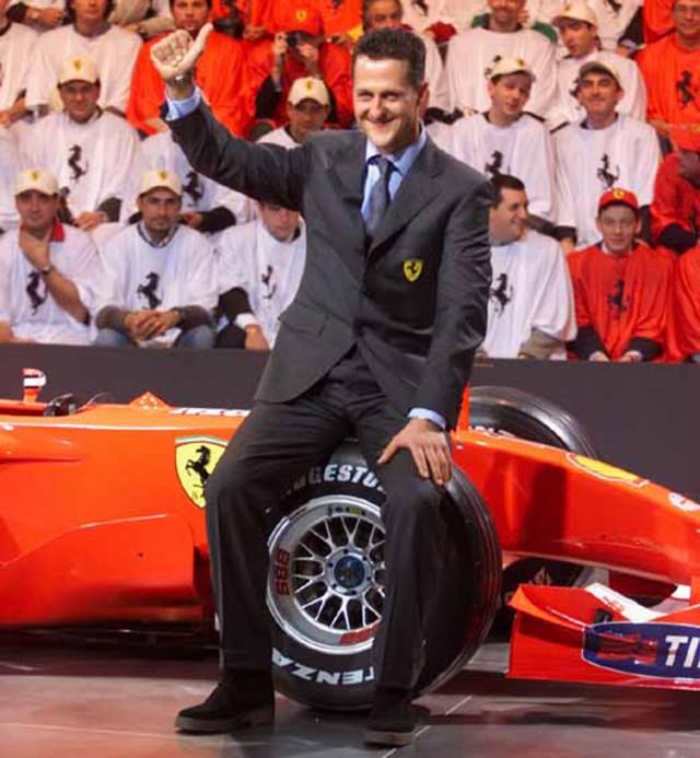 Michael Schumacher at the launch of the Ferrari F2001 Formula 1 race car