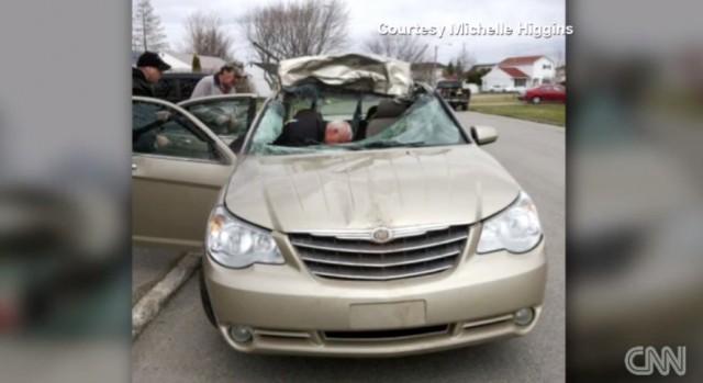 Michelle Higgins' totaled Chrysler Sebring.