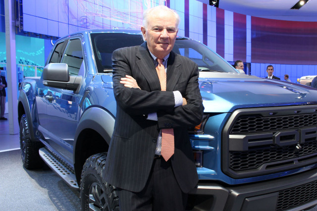 Mike Jackson standing in front of Ford F-150 Raptor at NAIAS 2015, Credit: AutoNation