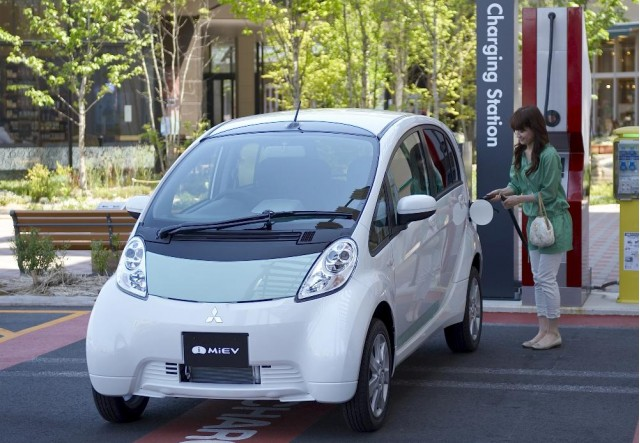 Mitsubishi i-MiEV electric car at quick charging station