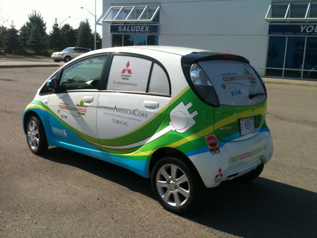 Mitsubishi i-MiEV electric car used for Clean Across Canada long-distance drive, Autumn 2010