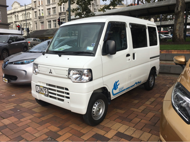 Mitsubishi i-MiEV electric pickup truck, seen in New Zealand, 2018 [photo: Chelsea Sexton]