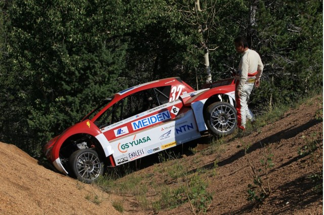 Mitsubishi I Miev Evolution Crashes During Pikes Peak Practice