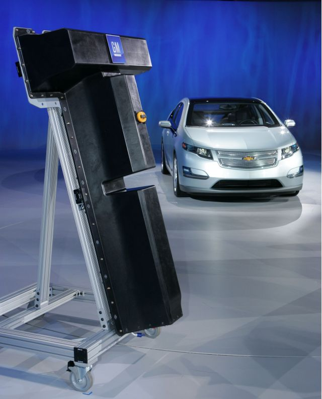Mock-up of LG Chem battery for 2011 Chevrolet Volt