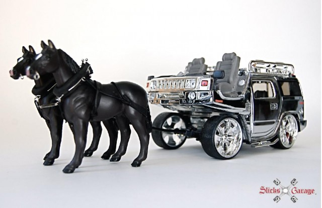 Model of Hummer H2 horse-drawn carriage by artist Jeremy Dean for his work,