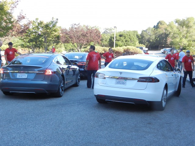 Six 2012 Tesla Model S cars at