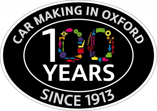 Logo for 100th birthday of Morris Motors Cowley plant, now MINI Plant Oxford, England, Mar 2013