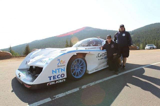 Monster Tajima in the Sport E-RUNNER electric Pikes Peak car.