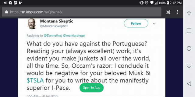 Montana Skeptic Tweet criticizing Dan Neil's Tesla Model 3 Performance review