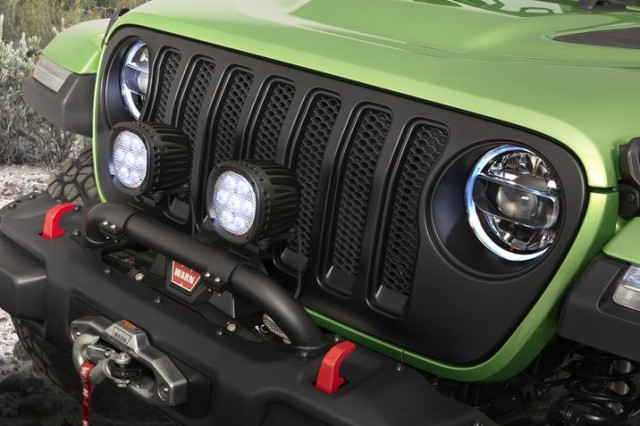 Mopar-modified Jeep Wrangler is equipped with additional lighting