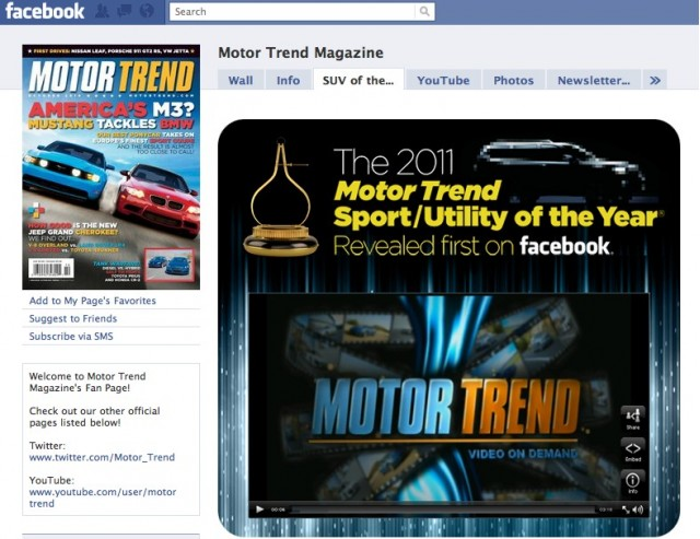 Motor Trend SUV of the Year on Facebook