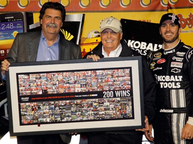 NASCAR president Mike Helton, Rick Hendrick and Jimmie Johnson - NASCAR photo