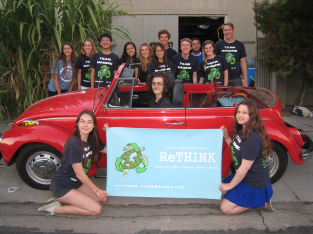 National Plug-In Day 2013: Students show off converted Volkswagen Beetle electric car.