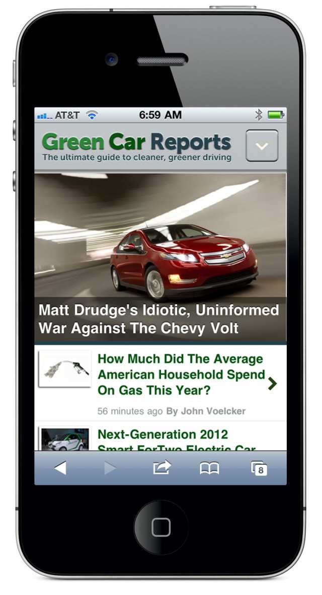 New mobile version of GreenCarReports site, December 2011