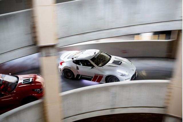 Nissan 370Z drift action at abandoned Hawthorne Plaza shopping mall - Image via Hoonigan