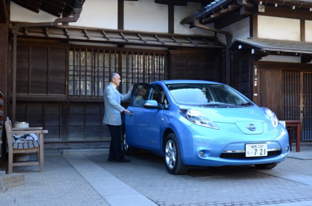 Nissan Leaf at Anyo-in Temple in Japan.