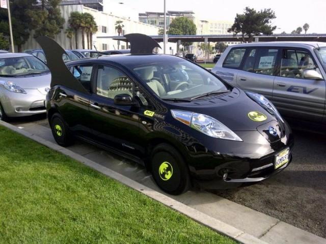 nissan leaf batt mobile electric car in halloween costume