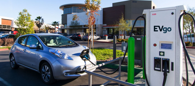 Nissan Leaf Electric Car At Evgo Dc Fast Charging Station