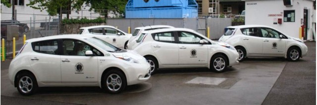 Nissan Leaf electric cars used by Seattle traffic enforcement department.