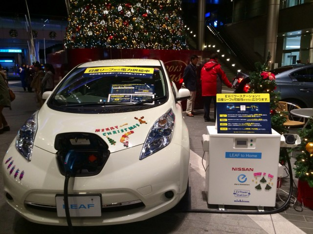 Nissan Leaf powers a Christmas tree in Tokyo (Image: NISSANEV)