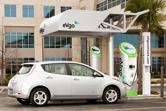 Nissan Leaf Electric Car With Evgo Quick Charging Station Courtesy