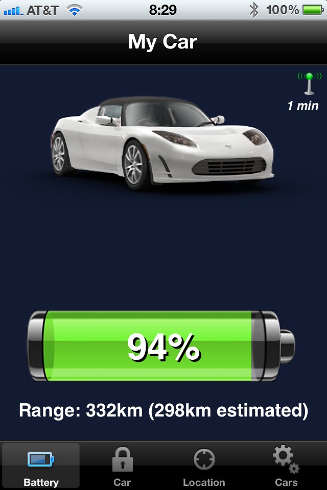 Open Vehicle Monitoring System app screenshot - battery charge status