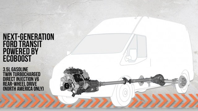 Outline of Ford Transit full-size van, coming to U.S. in 2013, with 3.5-liter EcoBoost engine