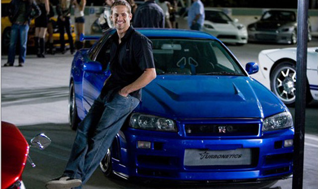 Paul Walker and an R34 Nissan Skyline GT-R on the scene of Fast and Furious 4