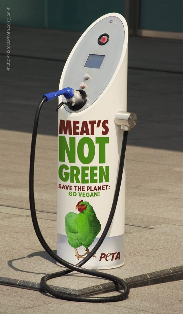 PETA vegan ad on electric-car charger