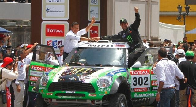 Peterhansel celebrating his 10th Dakar Rally victory