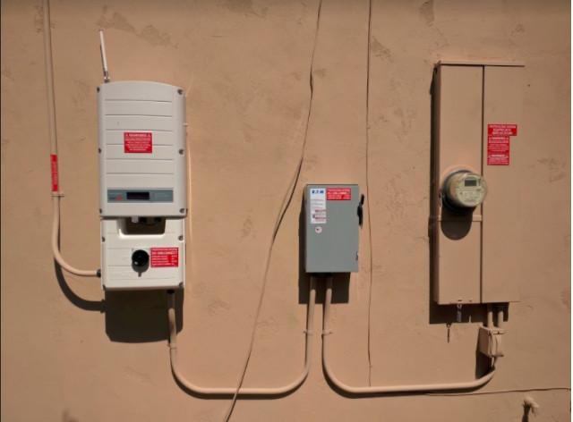 SolarEdge solar inverter and PG&E main circuit panel, Fremont, California [image: Shiva Singh]