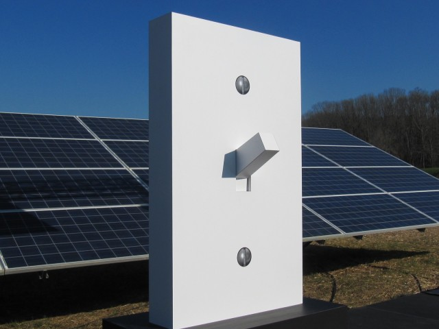 Large switch at photovoltaic solar power field at Volkswagen plant in Chattanooga, Tennessee