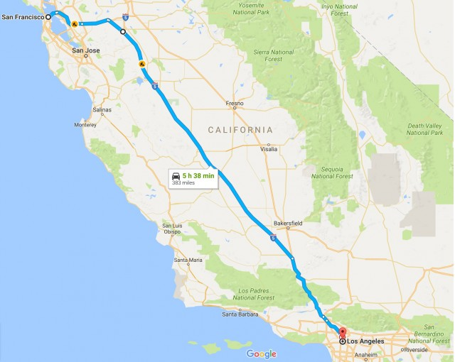 Distance from San Francisco to Los Angeles